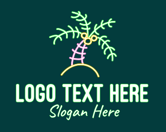 Neon Lights - Neon Coconut Tree  logo design