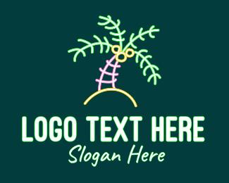 Coconut - Neon Coconut Tree  logo design