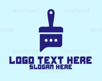Social - Blue Chat Brush logo design