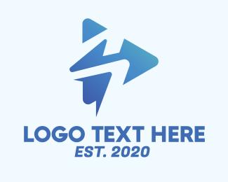 Spa Music - Blue Media Player Letter S logo design