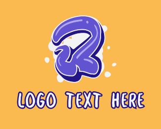 Number - Blockbuster Graffiti Number 2 logo design