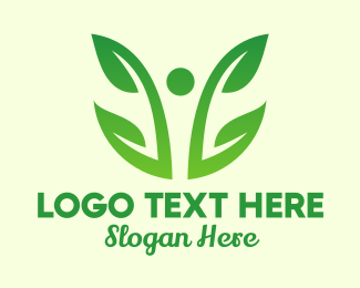 Holistic - Two Leaf Vine Plant  logo design