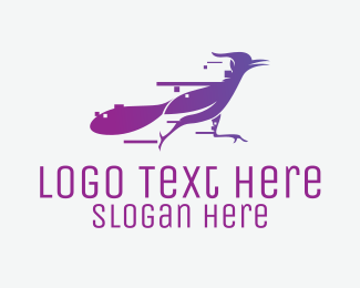 Full Speed - Fast Purple Roadrunner logo design