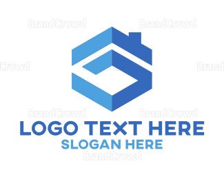 Build - Blue Building Icon logo design