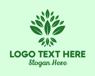 Vegan Food - Organic Green Leaves logo design