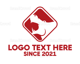 Aggressive - Black & Red Hippopotamus logo design