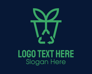 Bin - Potted Plant Recycle logo design