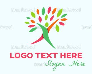 Human Tree - Walking Tree logo design