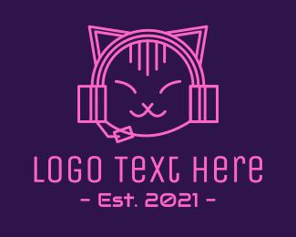 Mascot - Pink Cat DJ logo design