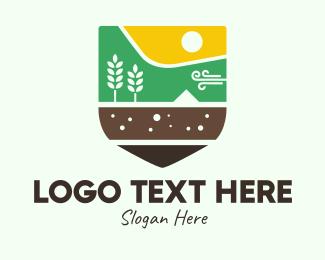 Rice Field - Agriculture Emblem logo design