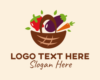 Eggplant - Fresh Vegetable Basket  logo design