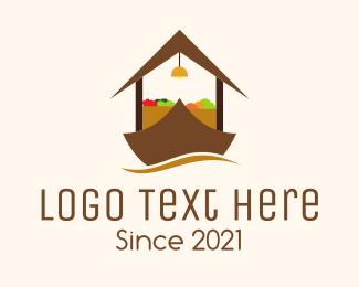 Market - Boat Vegetable Market logo design