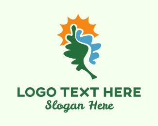 Oak - Leaf River & Sun logo design