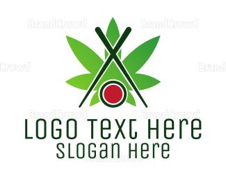 Chopstick - Sushi Cannabis logo design