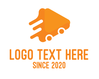 Delivery App - Triangular Orange Delivery Van logo design