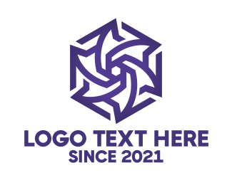 Bouquet - Blue Polygon Flower logo design