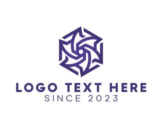 Polygon - Blue Polygon Flower logo design