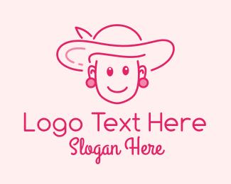 Sun Hat - Cute Elegant Lady  logo design