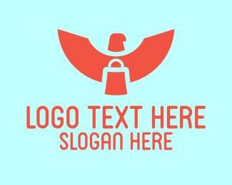 Thrift Shop - Red Eagle Paper Bag logo design