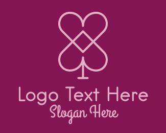 Spade - Pink Heart Spade  logo design