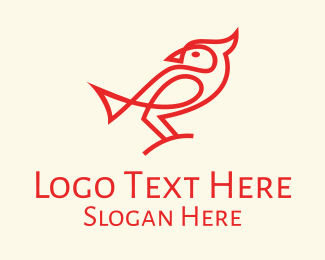 Nightingale - Red Cardinal Bird  logo design