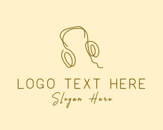 Disk Jockey - Minimal Headphones logo design