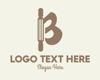 Baking Supplies - Rolling Pin Letter B logo design