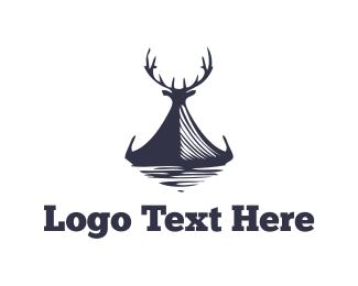 Hunter - Elk Canoe logo design