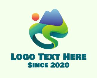 Landform - Modern Mountain Landscape logo design