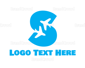 Travel Agent - Blue S Plane logo design