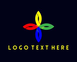 Religious - Colorful Flower Cross logo design