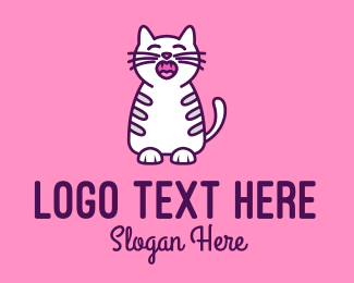 Sleepy - Pink White Cat  logo design