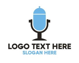 Microphone - Food Radio Microphone logo design
