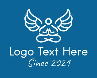 Angel - Minimalistic Meditating Angel logo design