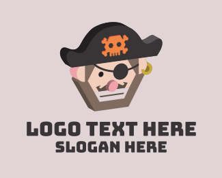 Halloween Costume - Angry 3D Pirate  logo design