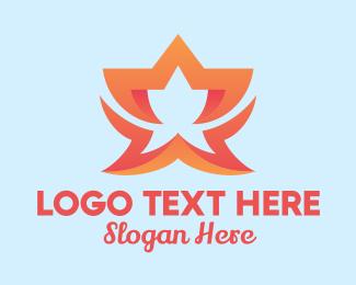 Motel - Orange Fancy Star Hotel logo design