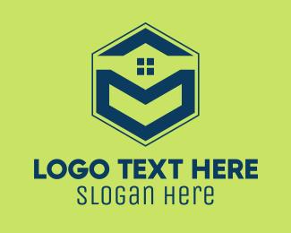 Realty - Blue Hexagon Realty logo design