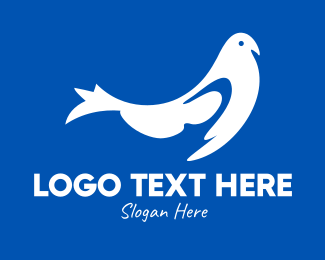 Nest - Blue & White Bird logo design