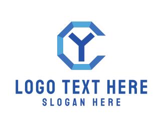 Octagon - Blue Y logo design