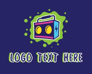 Dancing - Splatter Boom Box logo design