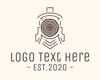 Train Station - Wood Train logo design