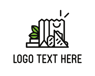 Shopping Bag - Black Grocery logo design