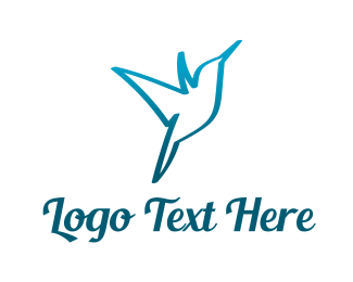 Kingfisher - Blue Hummingbird logo design