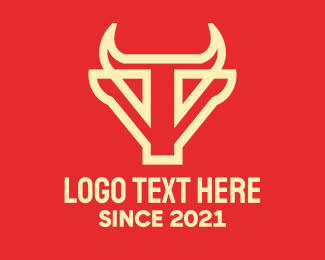 Bullfight - Yellow Bull Letter T logo design