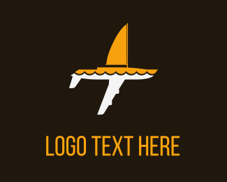 Yacht - White & Yellow  Sailing Plane logo design