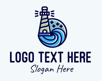 Ocean Wave - Lighthouse Seaport Outline logo design