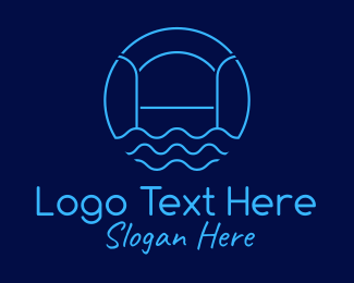 Lifeguard - Blue Minimalist Pool Waves logo design