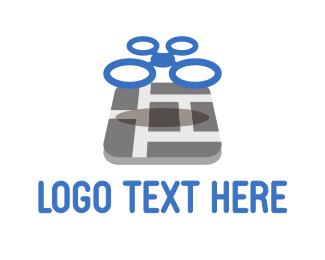Quadcopter - Drone Maps logo design