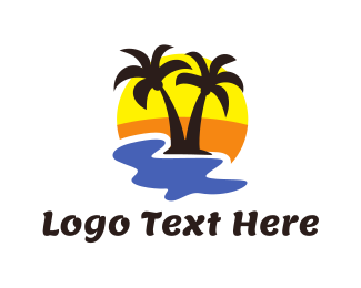 Water - Summer Black Coconut Tree logo design