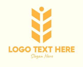 Crop - Orange Wheat Person logo design